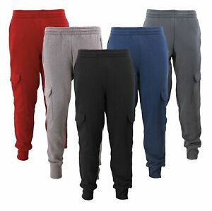 Men's Casual Fleece Sweatpants Sport Gym Workout Fitness Cargo Jogger Pants