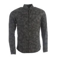 HUGO BOSS Shirt Dark Green Camouflage Slim Fit Cotton RRP £119