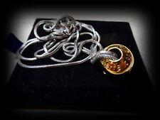 Vtg Designer Pierre Cardin Gold Coloured Bead Pendant Oxette Str Silver Chain