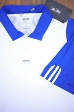 NWT Adidas Golf Performance Polo Shirt Blue White Men's Large L