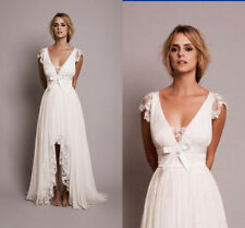 Boho Beach Short Wedding Dresses with Lace High Low Country Bridal Gown