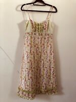 Whistles Cream Rose Floral Pattern Silk Blend Strappy Dress Size 10 A1711