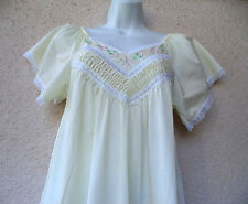 "Vintage LONG NIGHTGOWN Silky Nylon Pale Yellow LACE  Flutter Sleeve M 36"" Bust"