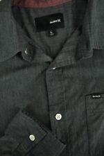 Hurley da Uomo Blu Scuro Grigio Cotone Poliestere Camicia Casual L LARGE