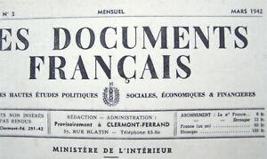 LES DOCUMENTS FRANCAIS 1942 lot 2 revues Polit. Soc. Eco. Financ. Etat Français