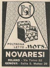W3588 Poltrona Letto NORS - Novaresi - Pubblicità 1943 - Advertising
