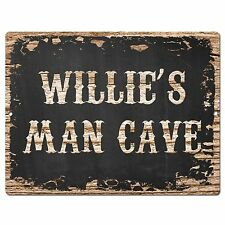 PP1663 WILLIE'S MAN CAVE Plate Chic Sign Home Room Garage Decor Birthday Gift