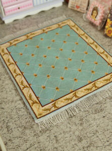 """8"""" Larger Vintage Blue Grids French Country Coffee Miniature 1:12 1:6 Rug"""