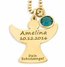 Schutzengel Kette vergoldet, Engel, Gravurschmuck, Namenskette gold