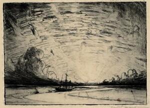 FRANK LEWIS EMANUEL (1865-1948) Signed Etching ESTUARY LANDSCAPE - 20TH CENTURY