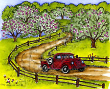 Country Scene Vintage Truck Wood Mounted Rubber Stamp NORTHWOODS P10269 New