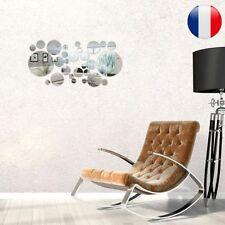 32 Pièces Rond Cercle Miroir Sticker Réglage Autocollant Mural Décoration Maison