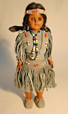 """Vintage Plastic Doll 8"""" 50s-60s Native American With Baby Leather Beaded Outfit"""
