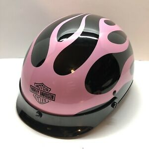 Harley Davidson Women's Pink Flames - Black Motorcycle Helmet Size Medium W/ Bag
