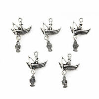 10pcs Fishing Boat Beads Tibetan Silver Charms Pendant DIY Jewelry 15*15mm