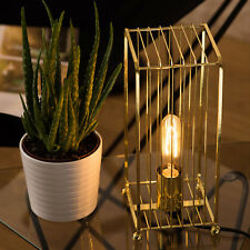 Gold Industrial Table Lamp Geometric Deco Desk Light Metal Bird Cage Wire Frame