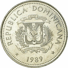 [#753090] Coin, Dominican Republic, 25 Centavos, 1989, EF(40-45), Nickel Clad