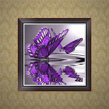 DIY 5D Diamond Embroidery Painting Purple Butterfly Cross Stitch Kit Home Decor