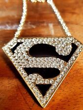 Cool Hip Hop YELLOW  GOLD CZ SUPERMAN PENDENT AND CHAIN