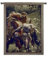 MEDIEVAL LABELL KNIGHT LADY ART TAPESTRY WALL HANGING 31x40
