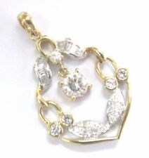 """18Kt Round & Baguette Diamond Two-Tone Jewelry Pendant .84Ct 1.25"""""""