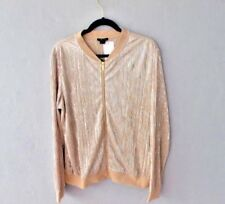 Iman Global Chic Metallic Pleated Jacket Champagne Size Large NEW
