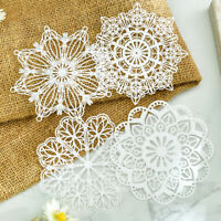 4Pcs White Lace Paper Doilies Placemats Decor Supplies Scrapbooking Card Crafts