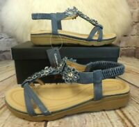 Womens Cushion Walk Holly Denim Slip On Low Heel Sandals VARIOUS SIZES!
