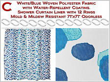 "White/Blue Shower Curtain with12 Rings Mold & Mildew Resistant Odorless 71""x71"""