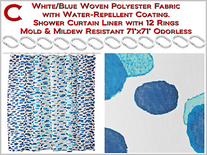 """White/Blue Shower Curtain with12 Rings Mold & Mildew Resistant Odorless 71""""x71"""""""