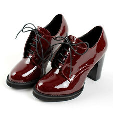 British Womens Retro Wine Red Lace Up High Chunky Heel Oxfords Shoes Pumps Hot