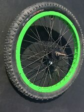 """Green 20"""" BMX Rim on Black Hub with Specialized Roller Tyre & Tube"""