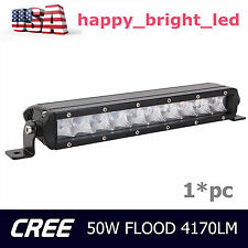 11inch 50W Single Row CREE FLOOD Slim Led Offroad Light Bar Jeep Boat 4WD Ford