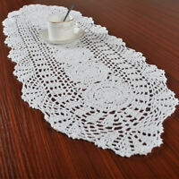 Vintage Hand Crochet Doilies White Table Runner Cover Cotton Doily 12x35inch