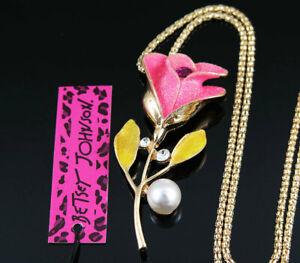 Betsey Johnson Bling pink Enamel Crystal Rose Flower Pendant Sweater Necklace