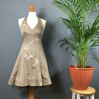 Apricot Bronze Cotton Silver Embroidered Halter Neck Fit and Flare Dress 8