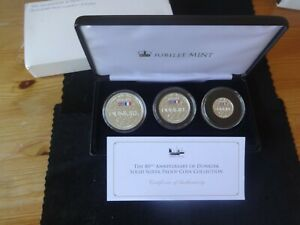 2020 SILVER PROOF ALDERNEY £5,£2,£1 COIN BOX SET + COA 80th DUNKIRK ANNI 1/499