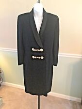 St. John Evening Black Knit Long Sleeve Double Breasted Gold Clasp Dress - 6
