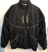 Vintage 90's Bold Spirit Women's Black Nylon Full Zip Windbreaker Jacket XL