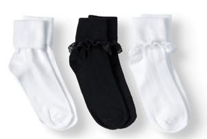 Girls Ruffle Socks 3 Pack NWT Black White Wonder Nation Size S or L