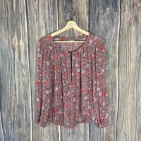 Lucky Brand Large Top Women's Floral Long Sleeve Multicolor Spring Summer