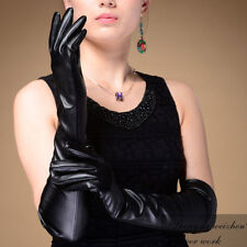 1PC Fashion Womens Black Long Faux Leather Opera Party PU Over Elbow Long Gloves