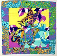 CHRISTIAN DIOR PARIS VINTAGE '70 Foulard Seta Grande Farfalle Big Silk Scarf