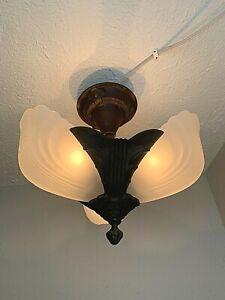 1930s Art Deco 3 Light Slip Shade Flush Mount Fixture