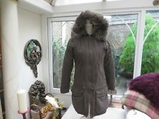 Next ladies stylish  classic parka style coat warm lined fur trimmed hood  8