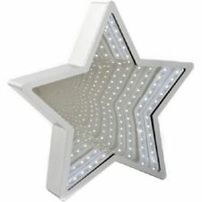 Star Shaped LED Mirror in White with 3D Effect Infinity Star Light 29 x 29cm