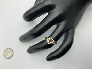 Pretty 14K Yellow Gold, 0.35+ CTW Ruby And Diamonds Ring Size 5.5, 2.3 Grams