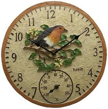 "Garden Wall Clock Outdoor Thermometer 12"" Wild Birds Outside in Designs 445894 Robin"