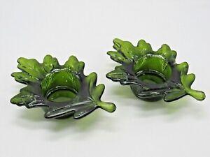 Green Oak Leaf / Leaves GLASS TEA LIGHT CANDLE HOLDER SET OF 2 Vtg