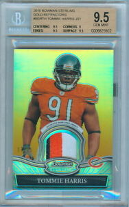 2010 Bowman Sterling Authentic Gold Refractor Tommie Harris Game Worn Patch Card